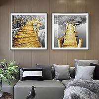 北欧のアートワーク黄色の木製の橋黒と白のシーンのポスターとプリント風景壁アート写真リビングルームの装飾(50x50cm)X2フレームレス