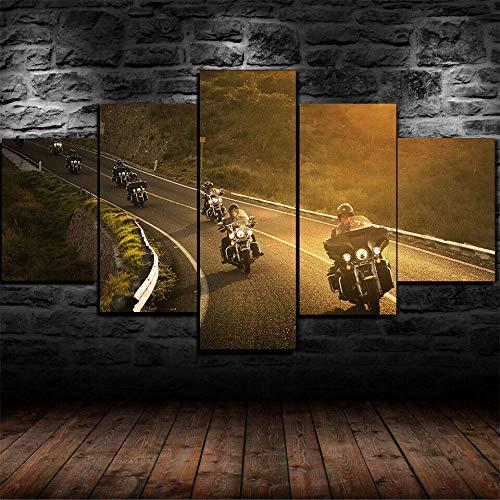 45Tdfc Cuadro En Lienzo 5 Piezas Póster Harl-David Riders Bike Sunset Dormitorio Arte De Cartel Pared DecoracióN del Hogar Cuadro Lienzo Pintura para Sala De Estar Listo para Colgar En Un Marco