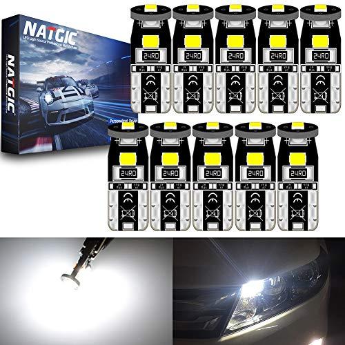 NATGIC T10 W5W 194 921 168 Ampoules LED CanBus sans Erreur 3SMD 3030 Puce pour éclairage Intérieur de Voiture Porte Courtoisie Wedge Light Tronc Ampoules - Blanc Xénon 6000K 350LM 12V (Pack de 10)