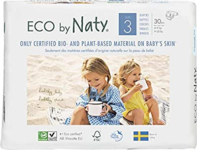 Eco by Naty, Size 3, 180 Diapers, 9-20 lbs, ONE MONTH supply, Plant-based premium ecological diaper with 0% oil plastic on skin