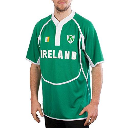 Irish Cool Dry Herren Rugby-Shirt, Irland, Grün/Weiß Gr. XL, grün
