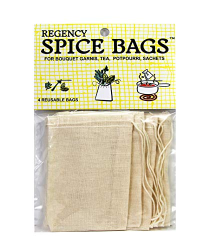 Regency Wraps Set of 4 Bags with Drawstring for Enclosing Bulk Spices, Tea, Potpourri, Jewelry, 100% Cotton, 4 COUNT, Natural
