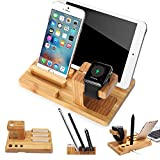 iPhone Soporte, XPhonew Bamboo Cargador Soporte de soporte de cuna para estación de acoplamiento para iPhone iPad Apple Watch 2 3 4 iWatch 42mm & 38mm All Models Samsung LG Smartphones and Tablets