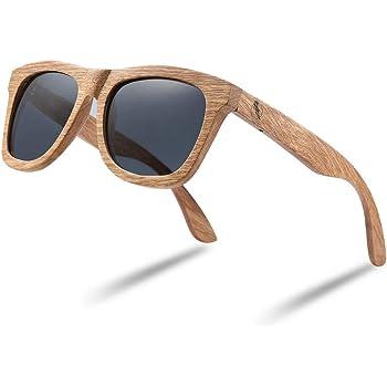 Wood Sunglasses, Polarized Bamboo Wooden Sunglasses Men Women in Engraved Box