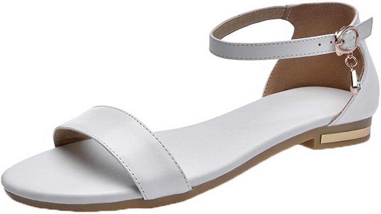 WeiPoot Women's Low-Heels Buckle Pu Solid Open-Toe Sandals