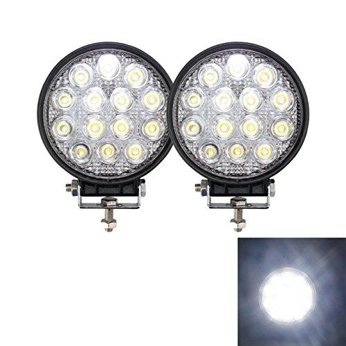 Brightum Projecteur pour travaux hors route, lumière blanche 42 W LED 12 V 24 V pour voiture, véhicule utilitaire, camion, 4x4, tracteur, pelle mécanique