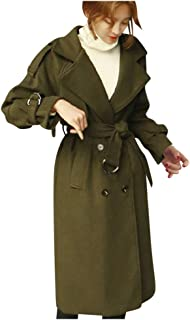 SONIGER ʕ•ᴥ•ʔ Womens Winter Long Sleeve Trench Coat Solid Double-Breasted Wool Blend Casual Lapel Pea Coat with Belt