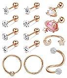 Drperfect 16G Cartilage Earrings Stud Hoop for Women 316L Stainless Steel CZ Stud Earrings Helix Tragus Conch Ear Piercing Jewelry