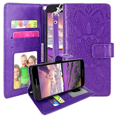Nokia 2V Hülle, Nokia 2.1 Hülle, Harryshell Kickstand Flip PU Leder Schutzhülle Wallet Hülle Cover mit Kartenfächern Handschlaufe für Nokia 2.1 (2018) / 2V, violett
