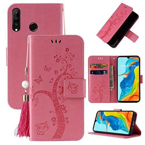 Miagon Brieftasche Flip Hülle für Huawei P30 Lite,Schön Schmetterling Baum Katze Design PU Leder Buch Stil Stand Funktion Handyhülle Case Cover,Rosa