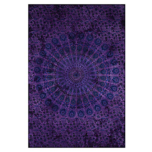 Montreal Tappassier Indian Wall Decor Hippie Tie Dye Purple Tapestries Bohemian Mandala Tapestry Wall Hanging Throw