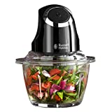 Russell Hobbs 24662 Desire Mini Chopper, Vegetable and Onion Chopper, 500 ml Capacity Glass Bowl, Matte Black, 200 W