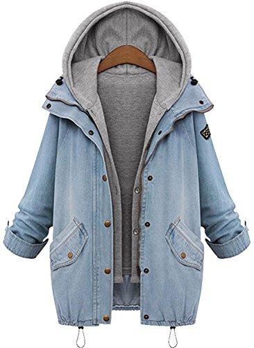 QZUnique Women's Plus Loose Fashion Slim Fit Hooded Cotton Denim Vest Jacket US 2-4