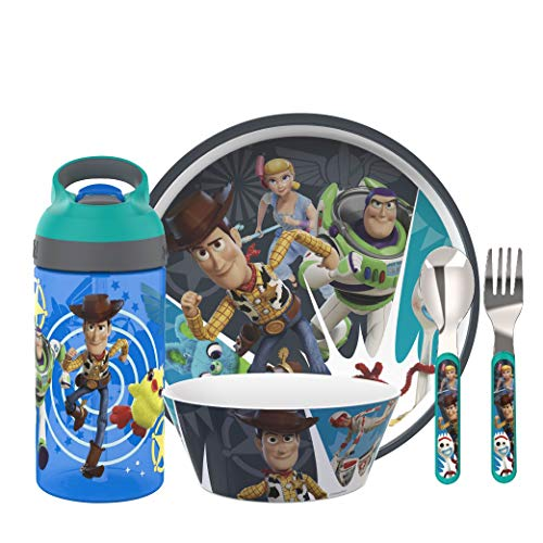 Zak Designs Kids Dinnerware 5 Piece Set - Toy Story 4, Plate, Bowl, Water Bottle, and Utensil Tableware, Non-BPA Made of Durable Material and Perfect for Kids