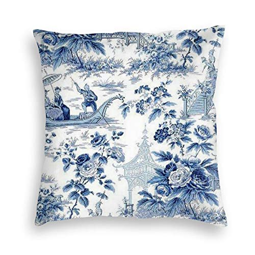 Private Bath Customiz Velvet Pillowcase Chinese Style Powder Blue Chinoiserie Toile Square Cushion Home Decor Throw Pillowcases Pillow Protector Best Pillow Cover 20 x 20 inch