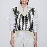 UANOU Argyle Plaid Y2k Moda para Mujer Cuello en V de Gran tamaño Chaleco de Punto Suéter Sin Mangas Pata de Gallo Chaleco Suelto Top Elegante para Mujer