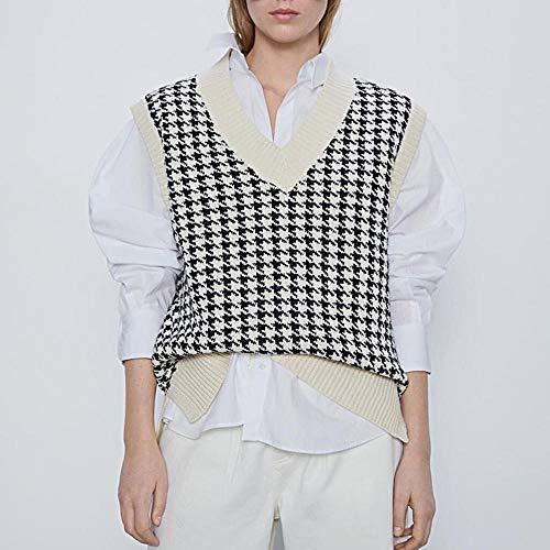 UANOU Argyle Plaid Y2k Moda para Mujer Cuello en V de Gran tamaño Chaleco de Punto Suéter Sin Mangas Pata de Gallo Chaleco...