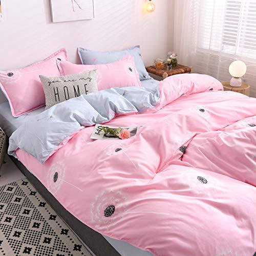 QWEASDZX Cotton Cartoon Four-Piece Dormitory Three-Piece Bedding Can Be Washed 2.2m