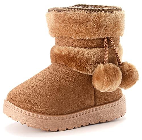 Vorgelen Kinder Wärme Gefütterte Schneestiefel Mädchen Winterschuhe Baby Rutschfest Stiefel Kleinkindschuhe Weichsohlen Schlupfstiefel (152 Braun/Größe: 32 EU = Etikett 33)
