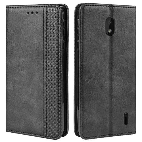 HualuBro Handyhülle für Nokia 1 Plus Hülle, Retro Leder Brieftasche Tasche Schutzhülle Handytasche LederHülle Flip Hülle Cover für Nokia 1 Plus 2019 - Schwarz