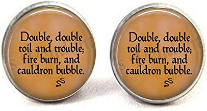 hakespeare's Macbeth Double, Double Toil and troublefire Burn and Cauldron Bubble Earrings Literary Jewelry