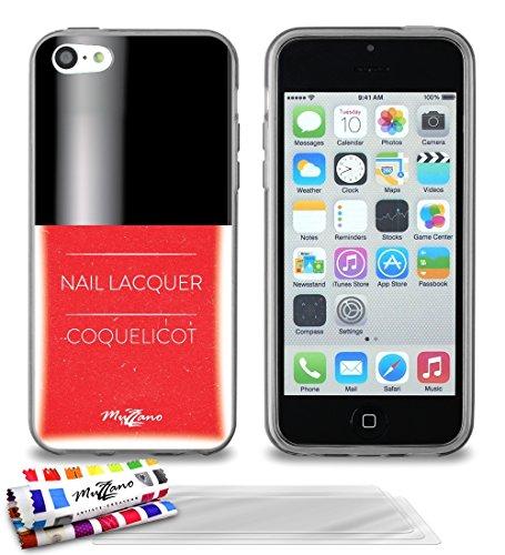 'Geschmeidiger Rückseitenschutz schmal Apple iPhone 5C Dünn, Motiv Exklusives [Roter Nagellack] [grau] von MUZZANO + 3Schutzfolien Set