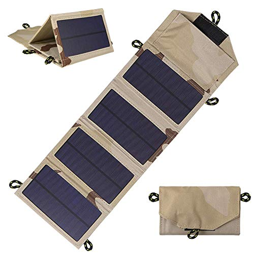 WYJW Solar-oplader, opvouwbaar, 4 panelen, voor op de camping, waterdicht, met USB-poort, piekstroom 1000 mAh, 7 W, snel opladen buiten, voor mobiele telefoons