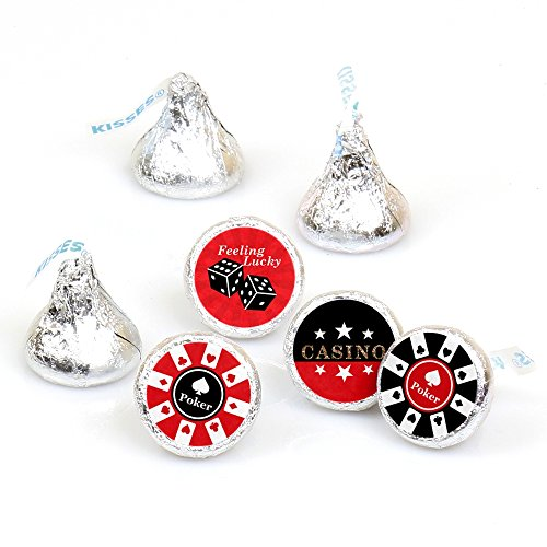 Las Vegas - Casino Party Round Candy Sticker Favors - Labels Fit Hersheys Kisses (1 Sheet of 108)