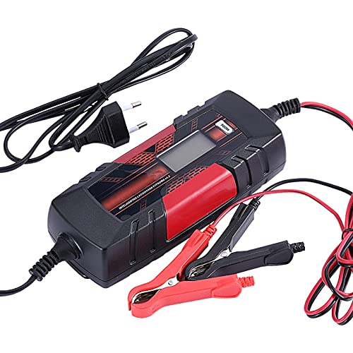 Fesjoy Carga de la batería del Coche, Dispositivo de Carga de batería Inteligente automático de 3 etapas de 12 V 4.5A con Pantalla LCD para baterías AGM Gel SLA Wet