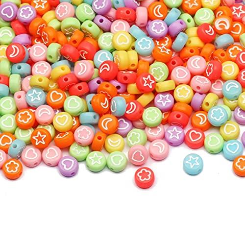 Perlas redondas de acrílico de corazón dorado 4x7 mm Perlas espaciadoras de letras blancas para hacer joyas Diy Charm Collar Pulsera Accesorios-B08542,100pcs