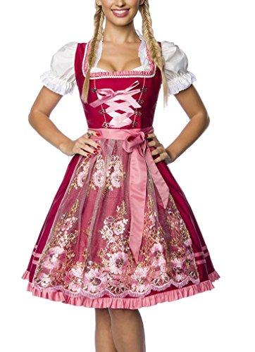 Dirndl Kleid Kostüm mit Schürze Minidirndl mit Stickereien Pailletten und ausgestelltem Rockteil Oktoberfest Dirndl rosa/rot L