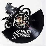 Reloj de Pared Moderno silencioso, Reloj de Pared Retro Record, Decoración de Dormitorio de Estudio de Sala de Estar, decoración del hogar. Motocross