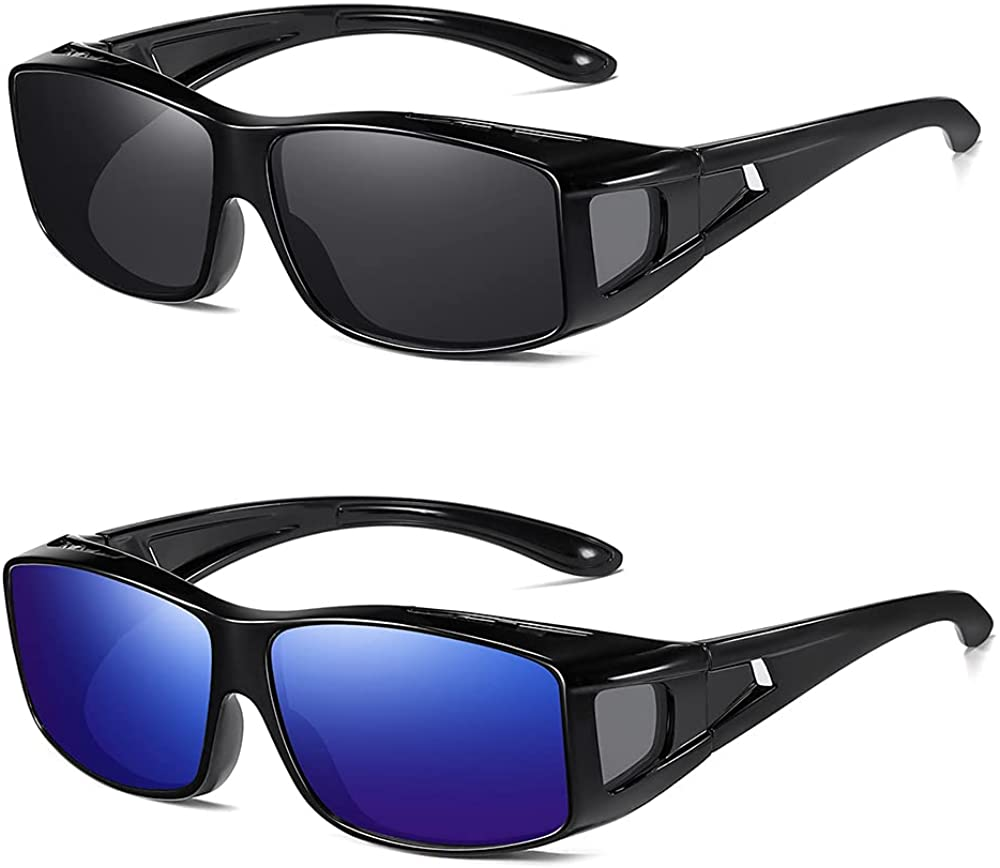 SHEEN KELLY Fitover sunglasses unisex styles of prescription, 100% UVA/UVB protection to put on the glasses and reading