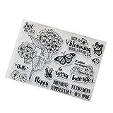Exing Sellos Scrapbooking Clear Stamp, Flor DIY Sello Claro De Silicona Aferrarse Scrapbook Relieve Álbum Decoración Craft