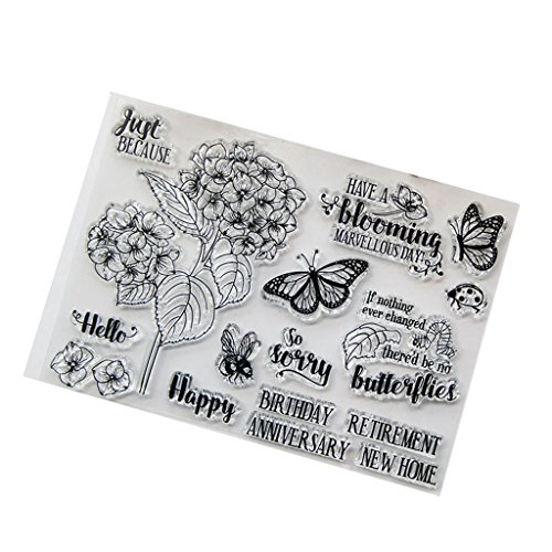 Seaskyer Clear Stamps for Cards Making, Silicone Stamps Flower, Flower DIY Silicone Clear Stamp Cling Seal Scrapbook Embossing Album Decor Craft