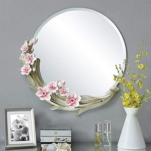 Miroir de salle de bain rond peint à la main sculpté décoratif miroir coiffeuse miroir de chambre à coucher,Pink,56 * 56cm