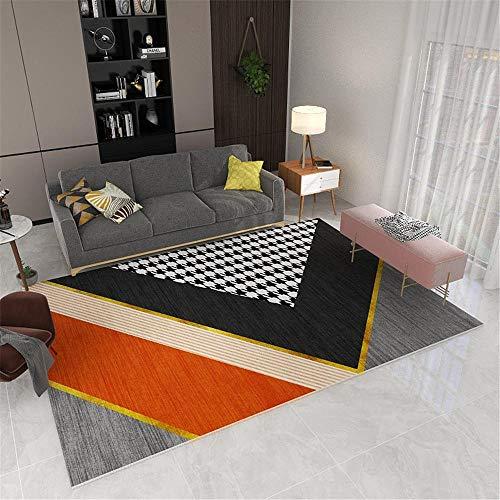 AU-OZNER la Alfombra de la casa, Alfombra Naranja, patrón geométrico de Retazos, fácil de aspirar y cálido Piso de la decoración de la casa, Accesorios para el -Orange_50x80cm