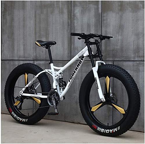 Bicicletas De Montaña, Bicicleta De Montaña Rígida Fat Tire De 26 Pulgadas, Cuadro De Doble Suspensión Y Horquilla De Suspensión All Terrain Mountain Bike,White5spoke,27speed