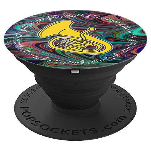 Euphonium Player Band Gift Dark Swirl Music Notes in Circle PopSockets Grip and Stand for Phones and Tablets
