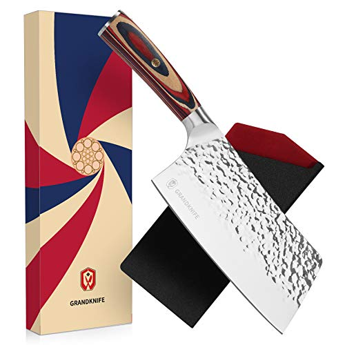 GRANDKNIFE Cleaver Knife 7 inch Vegetable Cleaver Kitchen Knife for Meat Cutting High Carbon Stainless Steel Pakkawood Handle with Mosaic Pin Hammered Forged Chef Knife…