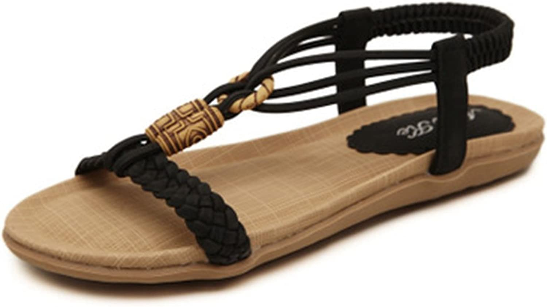 GIY Women's Bohemian Flat Sandals T-Strap Flip Flops Platform Comfort Summer Beach Studded Elastic Thong