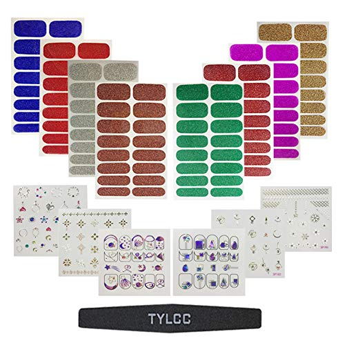 TYLCC 8 Sheets Glitter Wrap Stickers