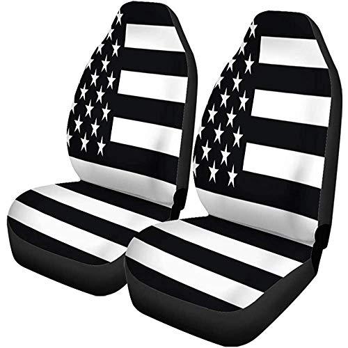 Enoqunt Autositzbezüge Monochrom Schwarz-Weiß Amerikanische Flagge USA Stripes America 2er-Set Protektoren