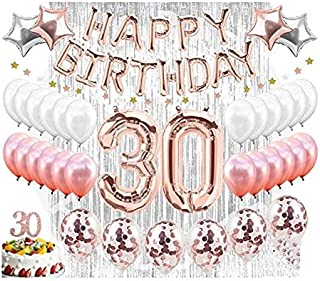 30th Birthday Decorations Set Party Supplies & Decorations| Rose Gold Confetti Balloon| Dirty Thirty| 30 Cake Topper| Silver Foil Curtain Photo Booth Backdrop