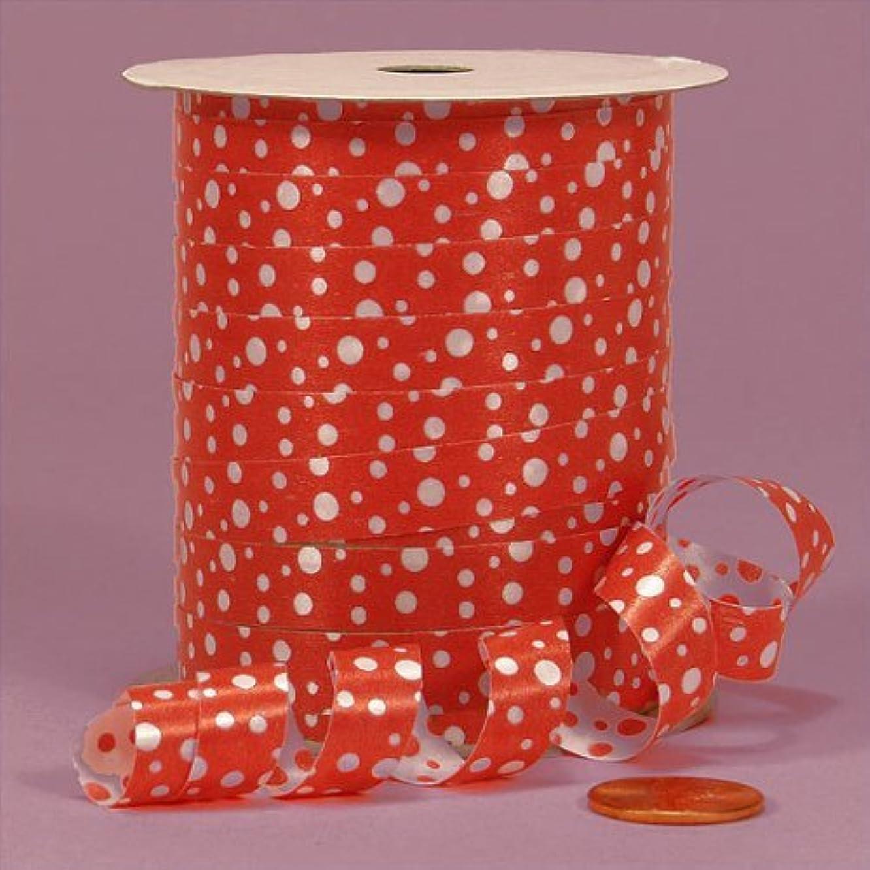 Red Polka Dots Curling Ribbon, 3/8