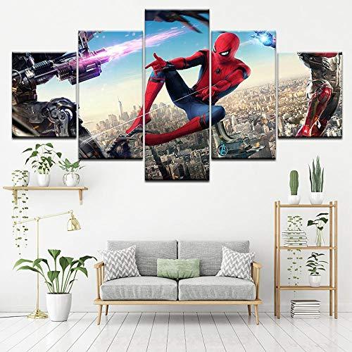 SSOOB Home Art marco de madera lienzo pared arte impresiones mural Personaje de héroe de película roja genial 150x80 CM 5 lienzos Modern Canvas Wall Art 5 Piezas Pictures HD Impreso Cartel de Pintura