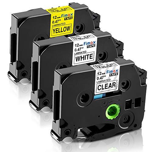 Nastro per Etichette Fimax Compatibile In sostituzione di Brother P-Touch 12mm TZe-231 TZe-131 TZe-631 Laminato per PT H105 H107 H100R 1000 1010 1080 H100LB, Multicolore, 3Pz.