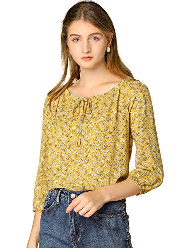 Allegra K Damen Langarm Rundhals Lace Up Blumen Top Bluse Gelb M