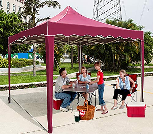 Zhyaj 2 X 2M Garden Heavy Duty Gazebo - Pieghevole Impermeabile Pop Up Gazebo - Tenda in Metallo Marquee Party Tent - Elegante Bordi Ondulati, Rosso