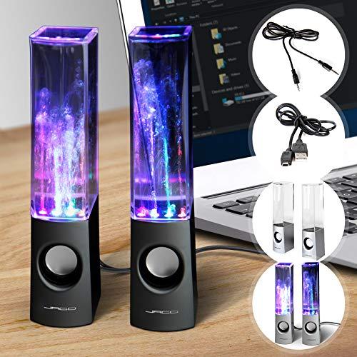 Jago Altavoces USB con Luces LED - Fuente de Agua, 2x3 Watt, 6/22,5/5 cm - Altavoces con Efecto, Dancing Water Speakers, Altavoces Estéreo